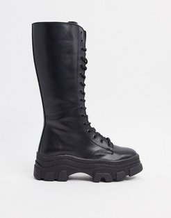high lace up boots with track sole in black
