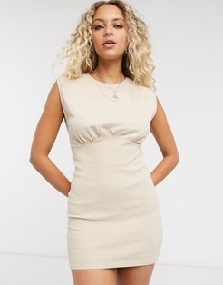 jersey dress with corset structure in beige