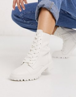 lace front boot in white