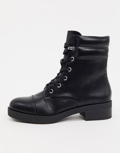 lace front high ankle boots in black