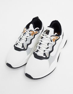 mesh sneakers in white with panels