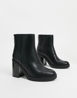 pull on chunky heeled boots in black