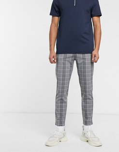 skinny windowpain check pants in gray