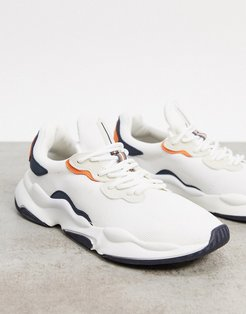 sneakers in white with orange and navy detailing