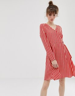 Philippa stripe wrap dress-Red