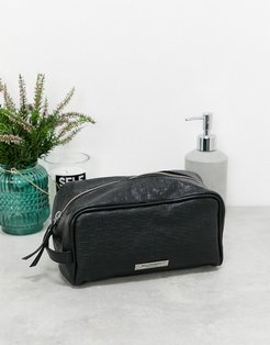 leather toiletry bag-Black