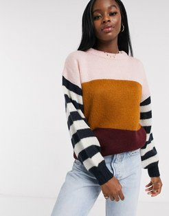 levy color block sweater in pink stripe-Multi