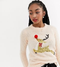 feather yarn sweater with sequins and pom poms-Pink
