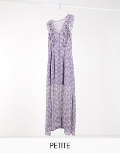 indigo frill front maxi dress in lilac ditsy floral print-Purple
