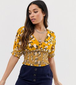 shirred detail top in floral print-Yellow