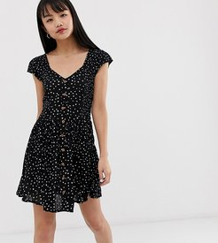 smock dress with mini buttons in heart print-Black