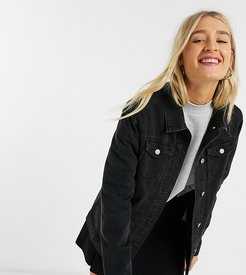 fielding long line denim jacket in black