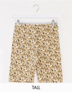 floral printed legging shorts in yellow