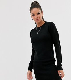 grungy round neck sweater dress-Black