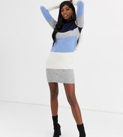 marlo block stripe sweater dress-Blue