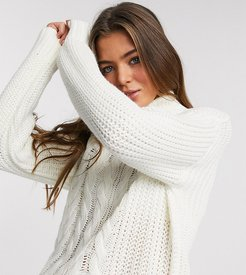 roll neck sweater in ivory-White
