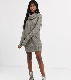 soda cowl neck sweater dress in gray