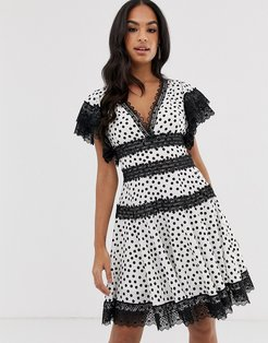 Bronx & Banco Brenda polka dot mini dress with lace trim-White