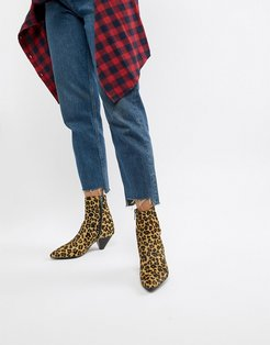 leopard print pony pointed heeled ankle boots-Multi