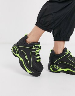 London classic lowtop sneakers in black with neon piping