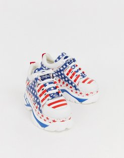London classic lowtop sneakers in USA flag print-White