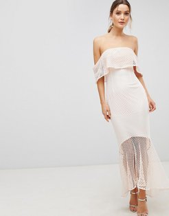 Lace Bandeau Fishtail Maxi Dress With Frill Overlay-Pink
