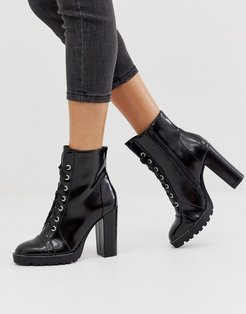 by ALDO Axell lace up chunky ankle boots in black