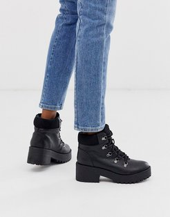 by ALDO Hiker lace up chunky ankle boots in black