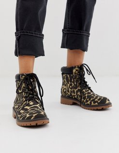 by ALDO Sonney lace up chunky ankle boots in animal print-Multi