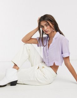 fara cropped sheer bowling shirt in taro-Purple
