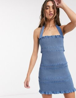 linnea smocked denim mini dress with removable halterneck strap in classic blue denim