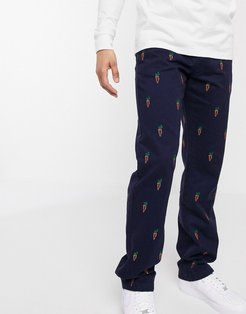 all-over print chino in navy