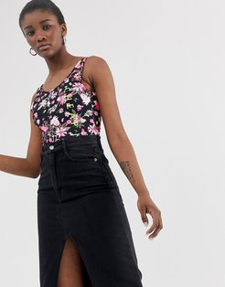 roses are dread all over print bodysuit with recycled polyester-Black