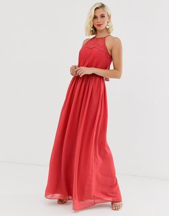 halter neck maxi dress in burnt red