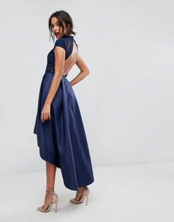 High Low Midi Prom Dress With Open Back-Navy