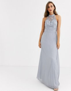 lace detail maxi dress with pleated skirt in gray