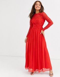 lace maxi dress with scalloped back in red