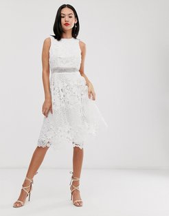 lace midi skater dress in white