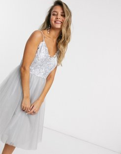 lace top tulle prom dress in silver gray
