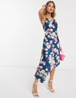 midi cami dress in garden rose print-Multi