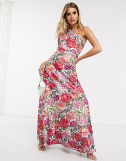 one shoulder maxi dress in floral-Multi