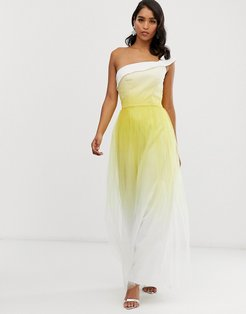 one shoulder maxi tulle dress in yellow dip dye effect