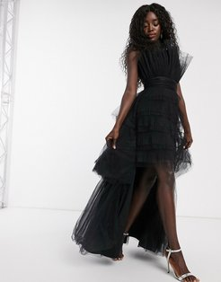 one shoulder tiered tulle maxi dress in black