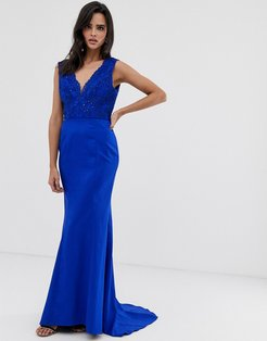 plunge front lace maxi dress with fishtail in royal blue
