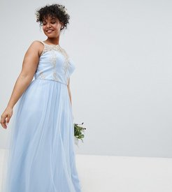 Bardot Neck Sleeveless Maxi Dress with Premium Lace and Tulle Skirt-Blue