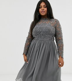 lace midi dress in charcoal gray