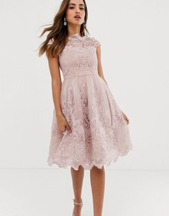 premium lace midi prom dress with bardot neck in mink-Pink
