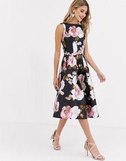 prom satin midi skater dress in dark floral-Multi