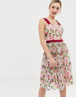 square neck embroidered midi prom dress in multi