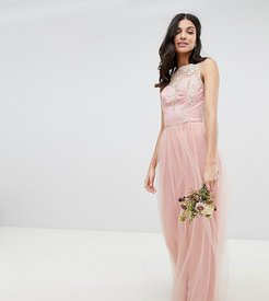 Sleeveless Maxi Dress with Premium Lace and Tulle Skirt-Pink